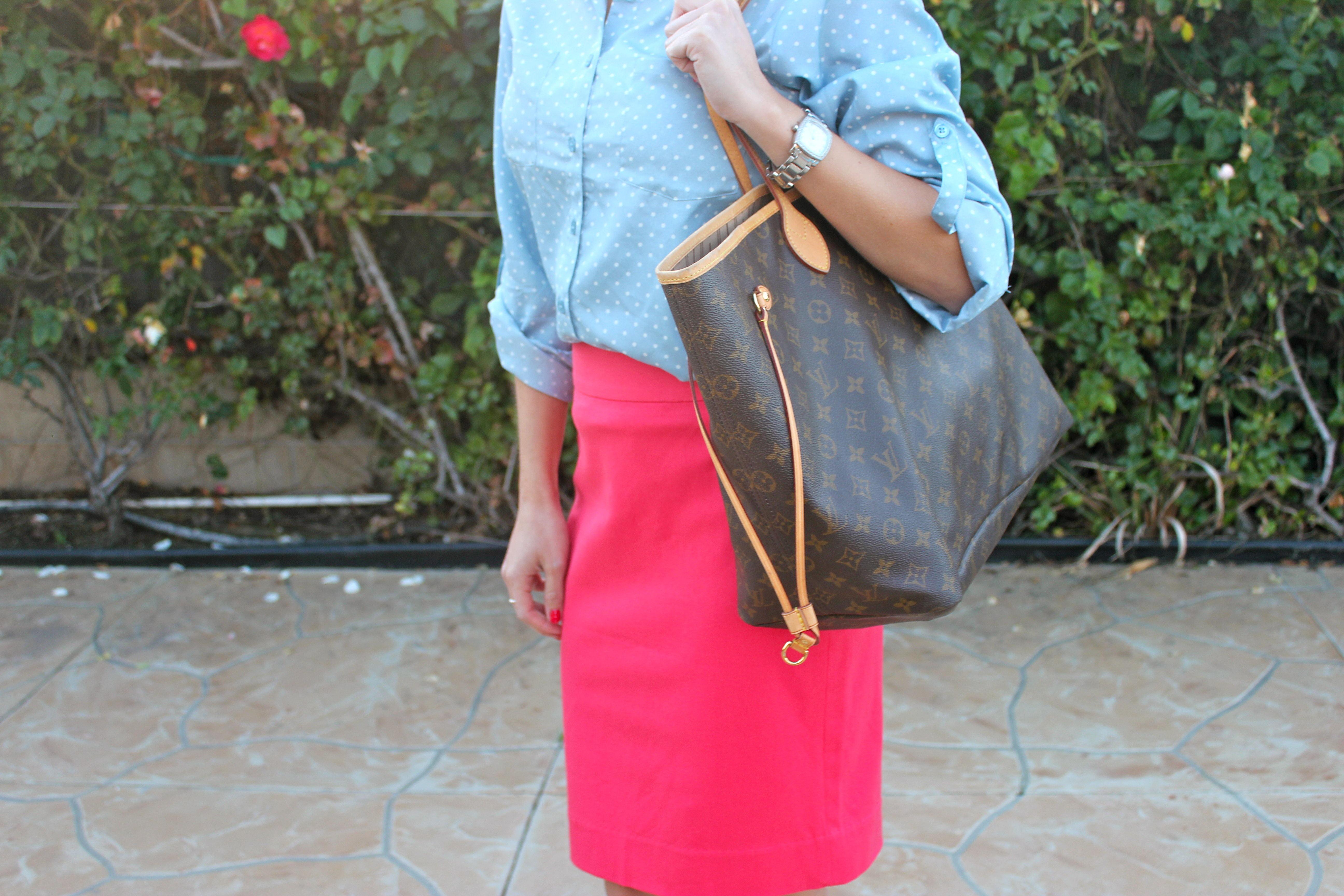 8d8a08ec7b4  Top  Target  Skirt  Banana Republic  Handbag  Louis Vuitton  Shoes  Franco  Sarto (found at DSW!)